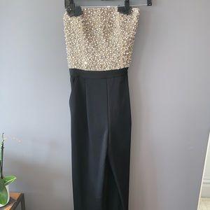 Alice + Olivia Jeri jumpsuit w beaded silk bodice